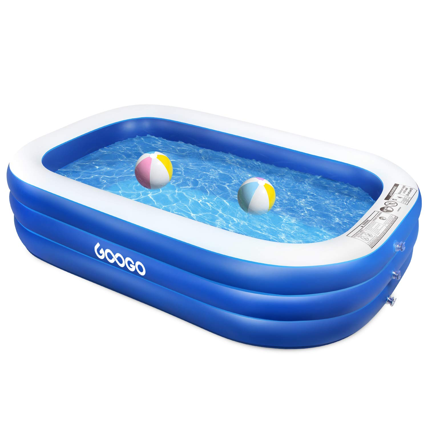 GOOGO Family Inflatable Swimming Pool, 92 x 56 x 20 inch Full-Sized Inflatable Lounge Pool for Kiddie, Kids, Adults, Easy Set Swimming Pool for Backyard, Summer Water Party, Outdoor