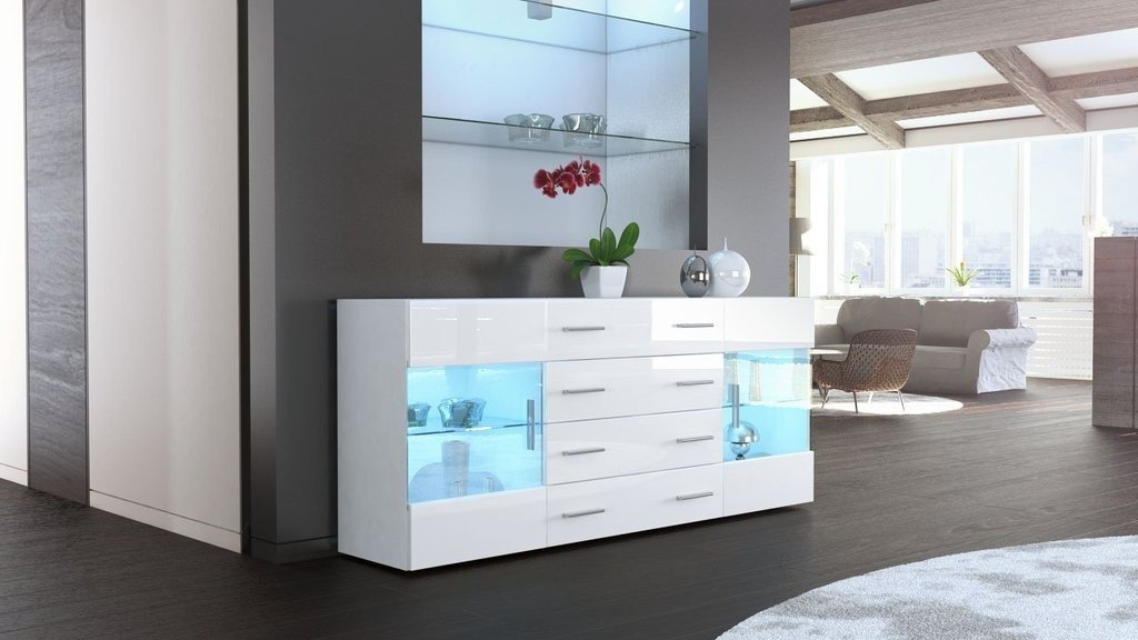 mobile credenza madia Open bianco bianco lucido 166: Amazon.it ...