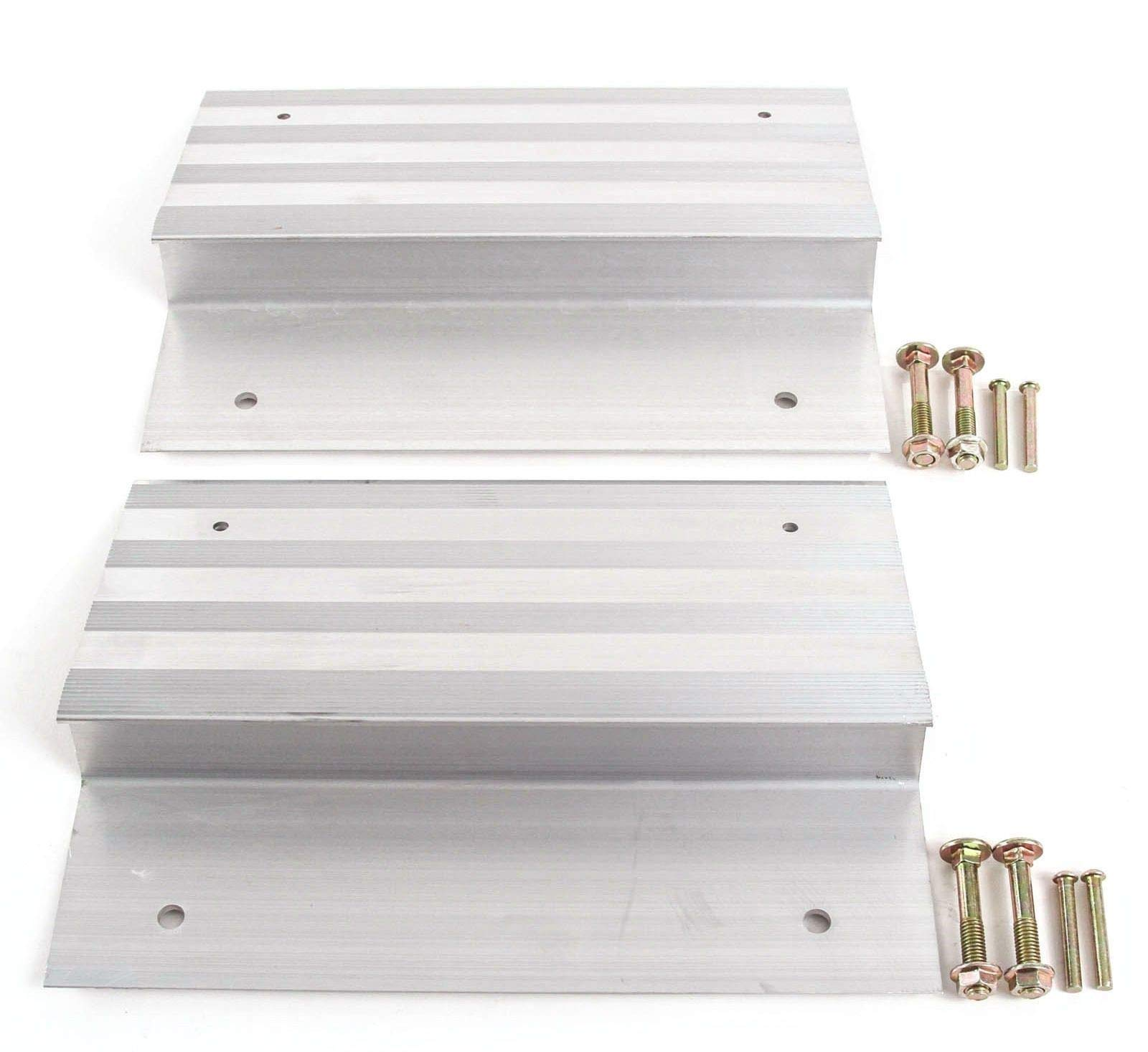 2 PCS Heavy Duty 12'' Aluminum Ramp Top/End Set with Mounting Hardware (Boards Not Included)