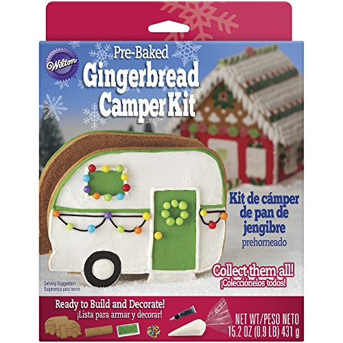 Christmas Gingerbread Camper Kit made our list of the most unique camping Christmas tree ornaments to decorate your RV trailer Christmas tree with whimsical camping themed Christmas ornaments!
