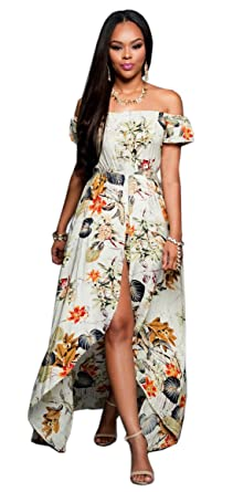 94cfce0cb485a Women Off Shoulder Floral Print Short Sleeve Maxi Skirt Overlay Rompers  Jumpsuit S