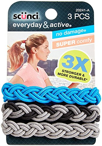 Scunci Everyday and Active 3-Strand Braided Elastics , No Damage, Super Comfy, 3X Stronger (Assorted Colors) 3-PCS