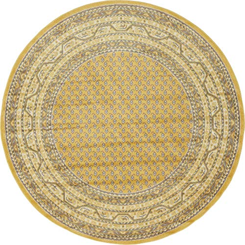 Unique Loom Williamsburg Collection Traditional Border Yellow Round Rug (5' 0 x 5' 0)