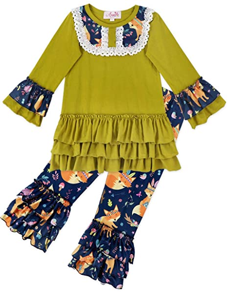 bc3cd5b17b5 Angeline Toddler Little Girls Fall Colors Pernickety Fox Top Pant Set  Mustard Teal 12-