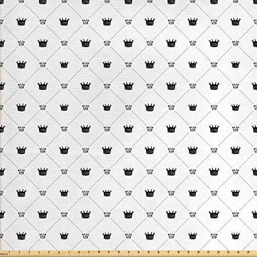 Victory Swag Valance - Ambesonne Abstract Fabric by the Yard, Traditional Symbolic Form Crown Power and Victory Sign in New Style Illustration, Decorative Fabric for Upholstery and Home Accents, Black White