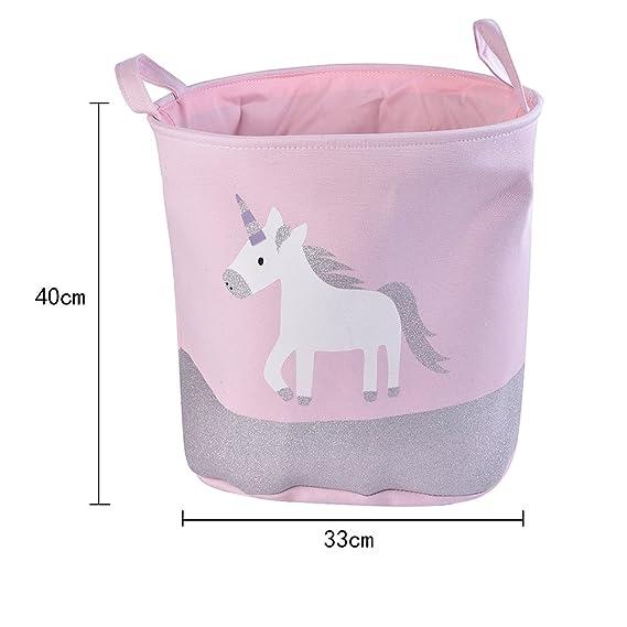 URIJK Cesta de almacenamiento de juguetes de unicornio - impermeable y bonito organizador de juguetes para bebés - plegable y portátil bolsa de ...