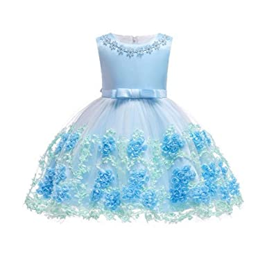3ec257fb86e70 Amazon.com: WEEKEND SHOP Girl Dress Kids Newborn Baby Girl Dress Birthday  Party Wedding Dress Infant: Clothing