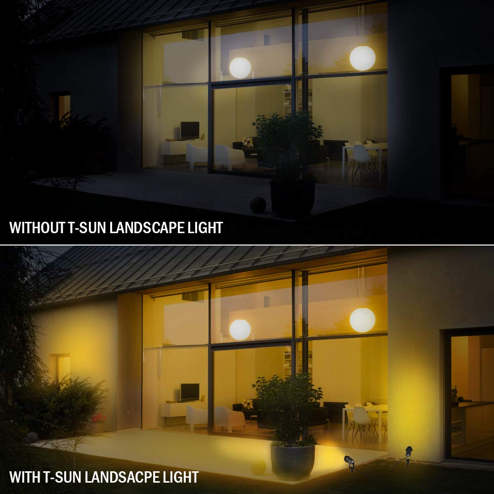 PHADAP 5W COB Outdoor Landscape Spotlights 4 Pack Waterproof IP65 LED Garden Lights Lawn Lamp Die-cast Aluminum for Yard Pathway. Warm White 3000K-3500K Garden Spike Lights