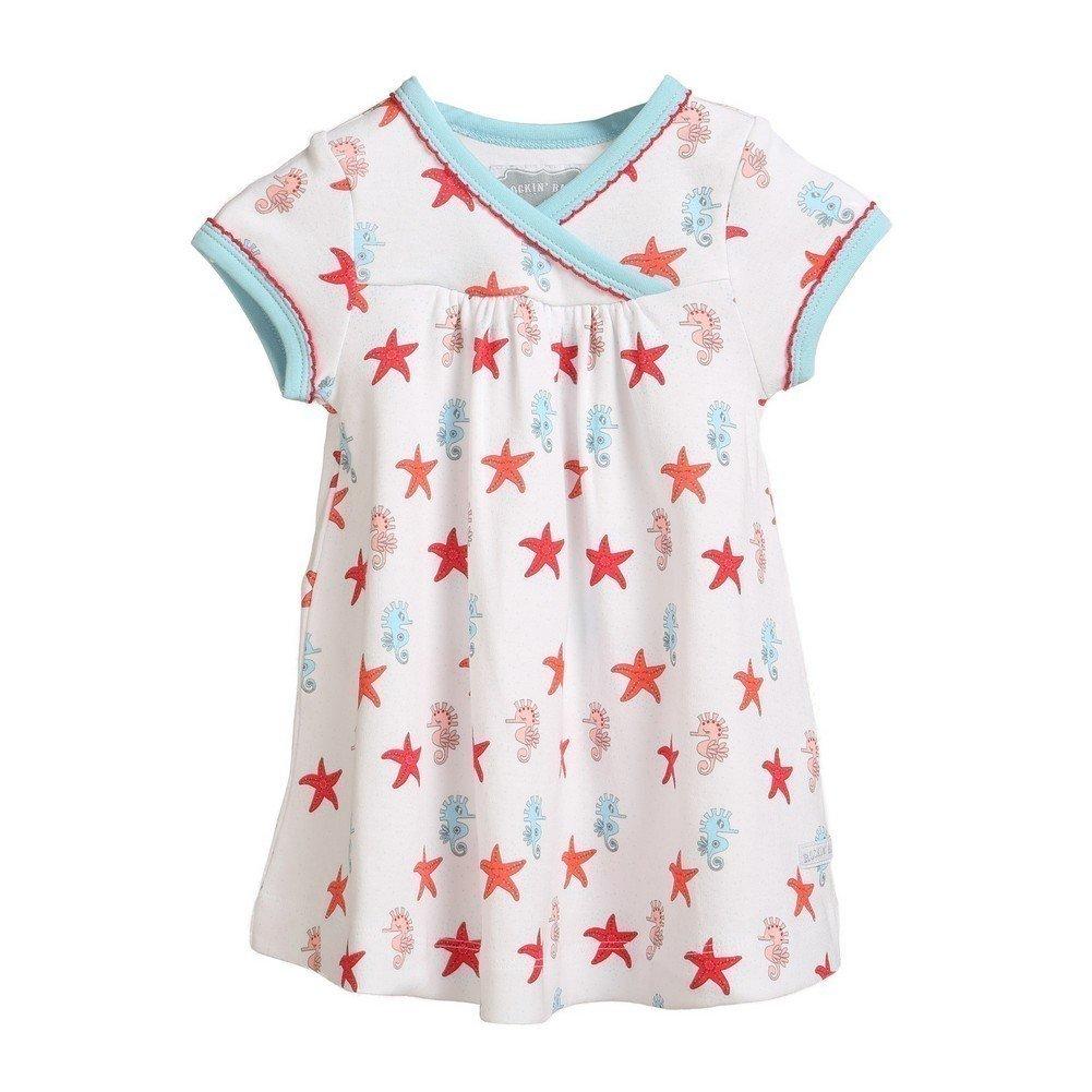 Rockin' Baby Girls White Blue Seahorse Star Print Wrappin' Dress 9-12M