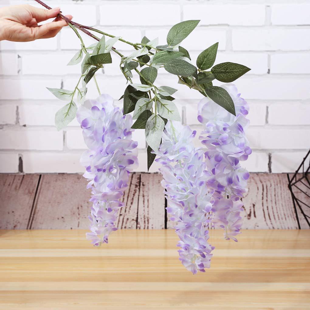 Lorjoyx 3 Cabeza Artificial Wisteria Vid de la Flor Ratta Colgante Floral de decoraci/ón de la Secuencia Ramo de la Boda