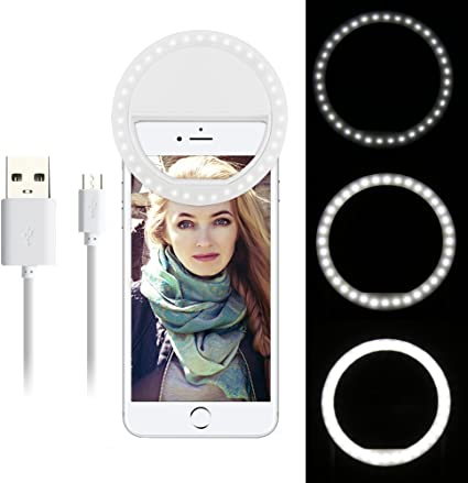 OurLeeme recargable de 36 LED de luz Smartphone selfie Anillo ajustable Clip 3 Nivel de brillo en el iPhone 7 6 más 6s 5s Samsung Sony LG HTC Blanca: Amazon.es: Electrónica