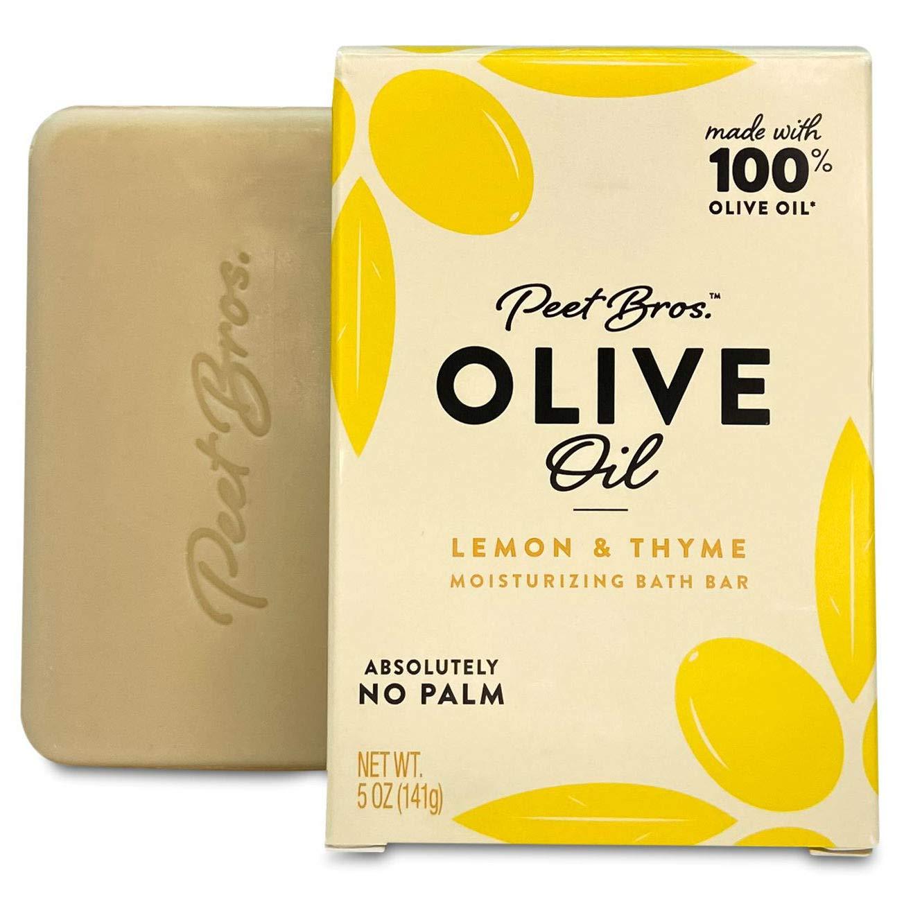 Peet Bros | Olive Oil Moisturizing Bath Soap Bar | Always Palm Oil-Free | 5 oz - Lemon & Thyme