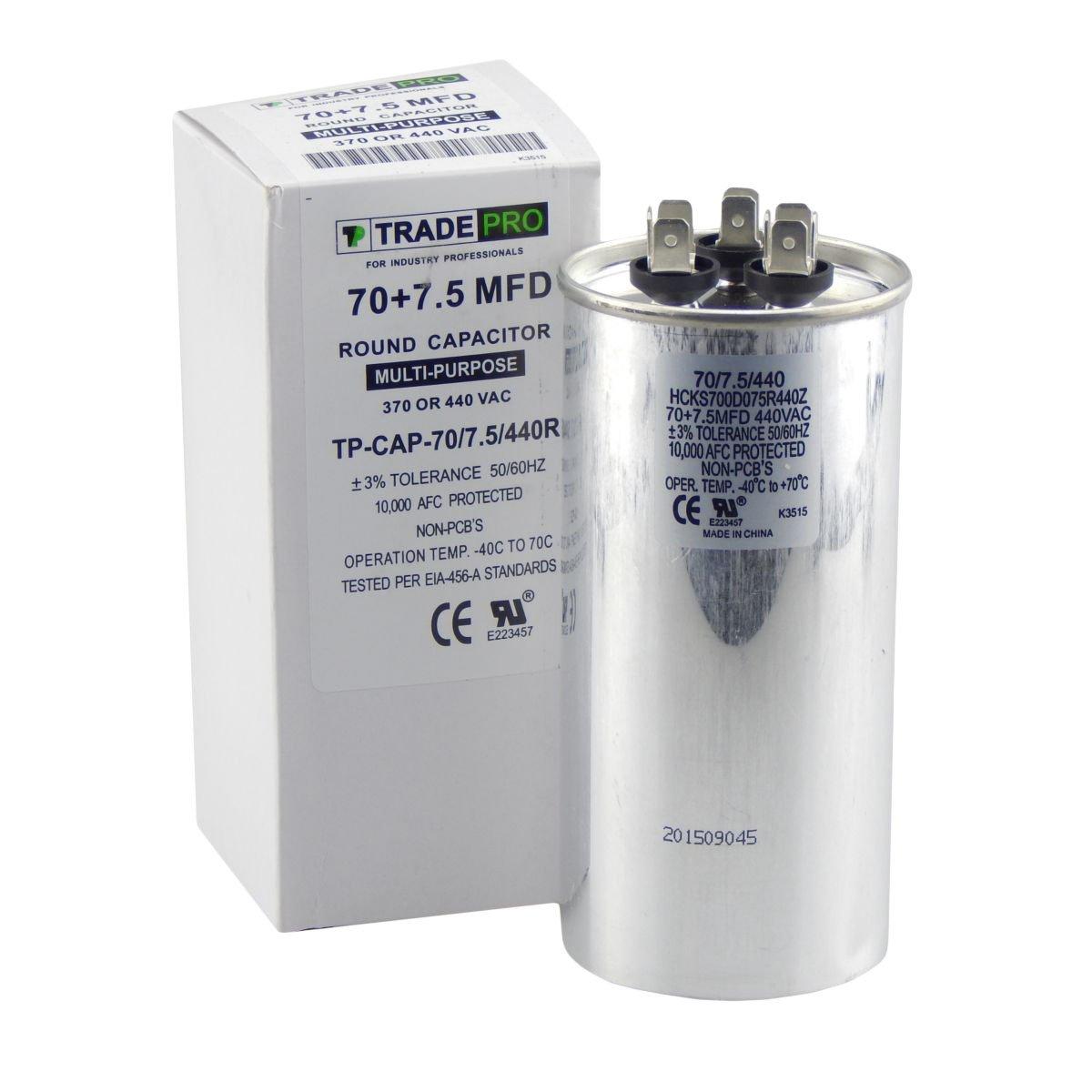 TradePro 70/7 5 MFD 370/440 Volt Round Dual Run Capacitor