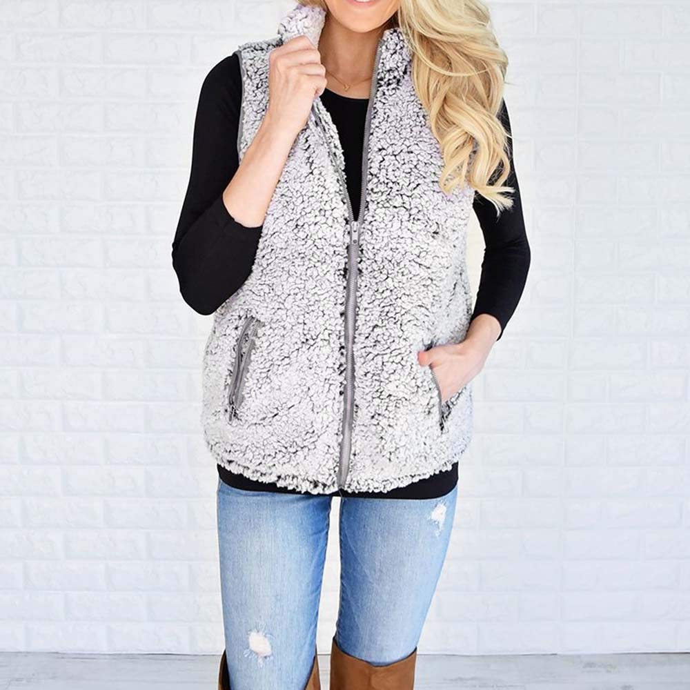 Clearance!Youngh Womens Vest Coat Sleeveless Plus Size Solid Zipper Loose Faux Fur Fashion Outerwear Jacket: Amazon.com: Grocery & Gourmet Food