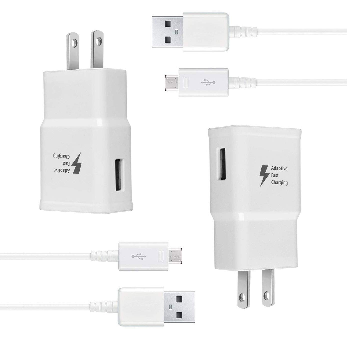 Wall Charger Kit Adaptive Fast Charge Compatible Samsung Galaxy S7 / S7 Edge / S6 / S6 Plus / Note5/4 /S4/S3, USB 2.0 Fast Wall Charger Adapter and Micro USB Cable (2 Adapter + 2 Cable) by Eaxxfly