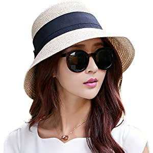 Packable UPF Straw Sunhat Women Summer Beach Wide Brim Fedora Travel Hat  54-59CM 08803251f3bf