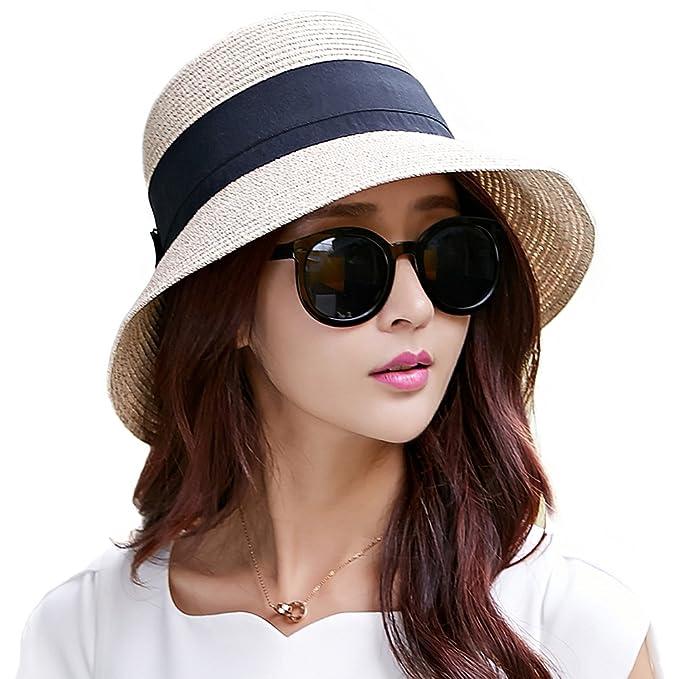 0d988177e Packable UPF Straw Sunhat Women Summer Beach Wide Brim Fedora Travel Hat  54-59CM