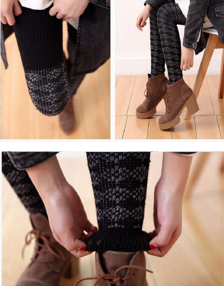 AM Landen Wool Blend Knee Highs,Thigh High,Cuffs Knit Crochet Leg Warmer(Thigh High Black) by AM Landen (Image #7)