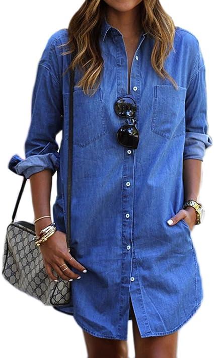 lnlyin Mujer Jeans Camisa Otoño Denim vestido langärme ligas einreihigen Camisa vaqueros, poliéster, vaquero, large