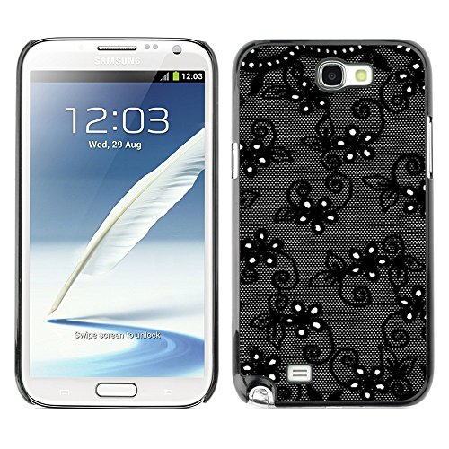 Soft Silicone Rubber Case Hard Cover Protective Accessory Compatible with SAMSUNG GALAXY? NOTE 2 & N7100 - black flowers night decorative