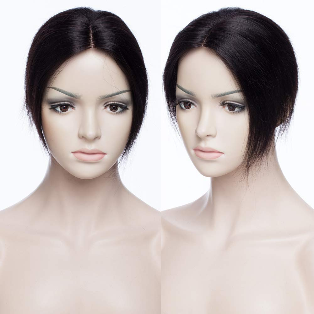 Extensiones de Cabello Natural Clip Prótesis Capilar Mujer Ampliar el Volumen en La Coronilla 100% Remy Flequillo Postizo Pelo Humano 6