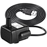 LEDGLE Mini Fountain Pump Compact Submersible Pumps Efficient Water Pump for Small Pond, Fish Tank, Long Cord, 180L/H, Black