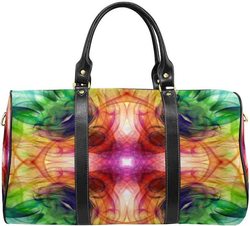 InterestPrint Unisex Duffel Bag Carry-on Bag Overnight Bag Weekender Bag Colorful Smoke Graphic