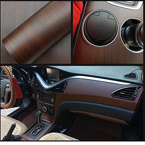 HOHO 30cmx100cm Peel and Stick Dark Color Self-Adhesive Wood Grain Vinyl Wrap Contact Paper Interior Film for - Wrap Grain Wood