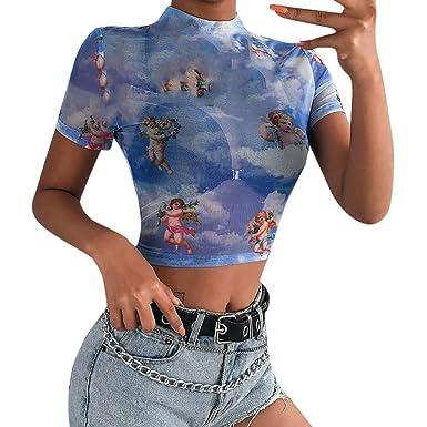 550f99458d4 Tanhangguan Womens Crop Tops Teen Girls See Through Sexy T Shirts Blouse  Blue
