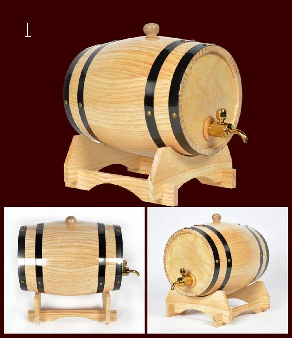 OAK Barrel 1.5L Wooden Barrel for Storage or Aging Wine & Spirits with Stand and Metal Spigot-Beer Dispenser without Aluminum foil , 1 Z@SS