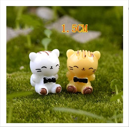 KWOSJYAL 4Pcs / Set Cute Cat Animals Figurine Miniatures Garden Micro Landscape Decoration Adornos De Resina Animal para DIY Key C Craft: Amazon.es: Jardín