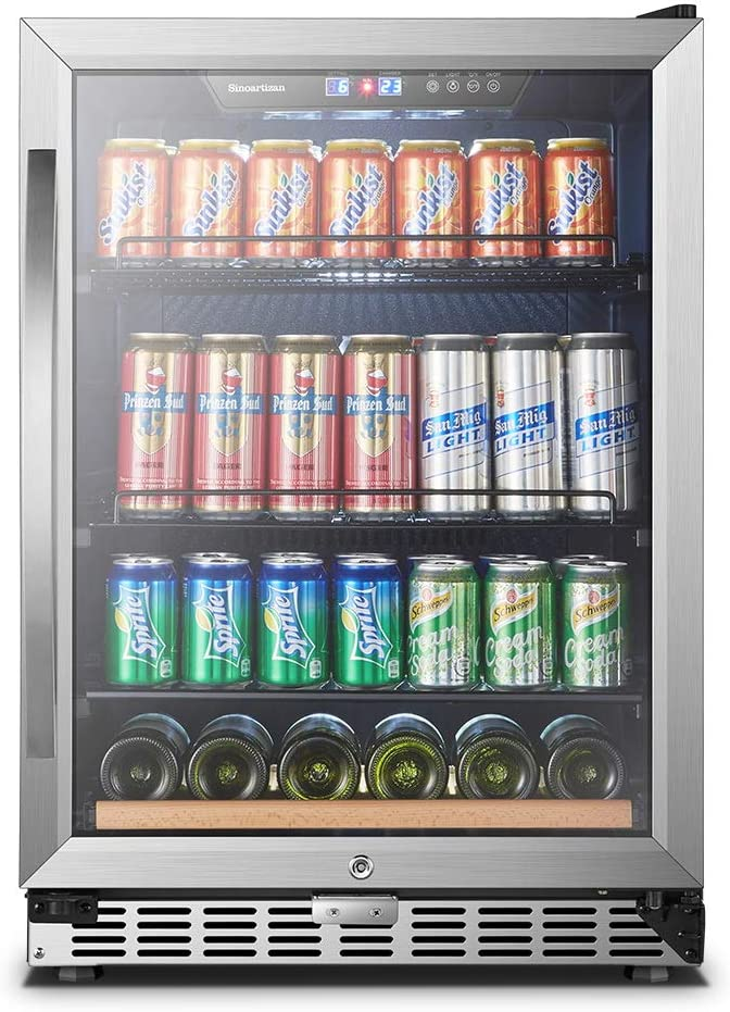 Sinoartizan Compressor Beverage Cooler 24 Inch Single Zone Built In And Freestanding Fridge 154 Can Beverage Fridge Refrigerator With Stainless Steel Energy Saving Triple Layered Tempered Glass Door Appliances Amazon Com