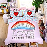 ManFan 4pcs Thicken Aloe Cotton Fitted Sheet Bedding Sets Solid Color AB Bed Protector Home Quilt Cover Blanket School Dorm Cartoon Print