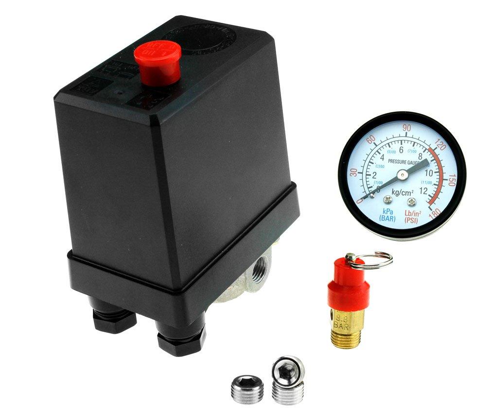 Three Phase Compressor Pressure Switch + Blanking Plugs & Safety Value & Gauge