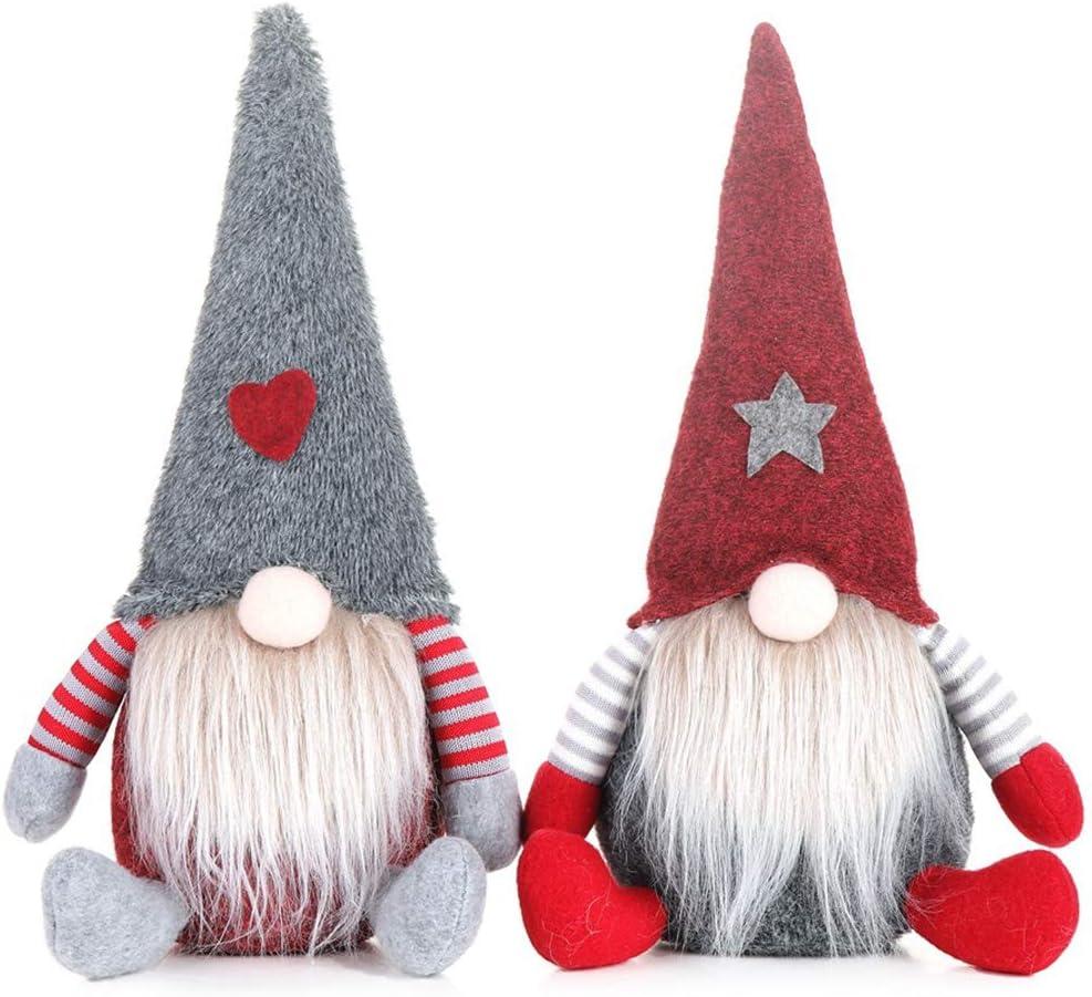 ACTLATI 2Pcs Christmas Gnome Plush Dwarf Doll Decor Christmas Plush Toy Elf Swedish Tomte Decoration Ornaments