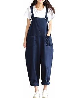 4ad3dd84d69f6 StyleDome Femme Coton Casual Large Ample Harem Sarouel Pantalon Combinaison  Salopette…