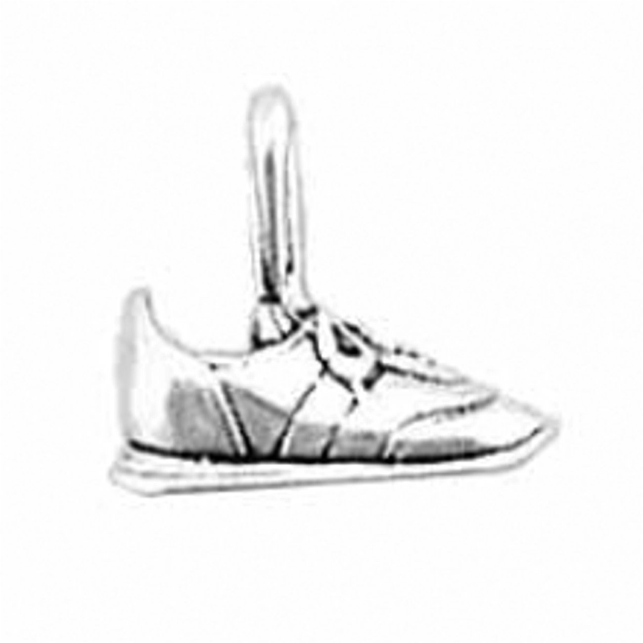 Sterling Silver 3D Tennis Shoe Tied Laces And Side Detail Sports Dangle Charm Bead For Bead Bracelet