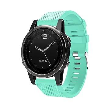 IGEMY Correa de repuesto de silicona para reloj GPS Garmin Fenix 5S, color azul claro