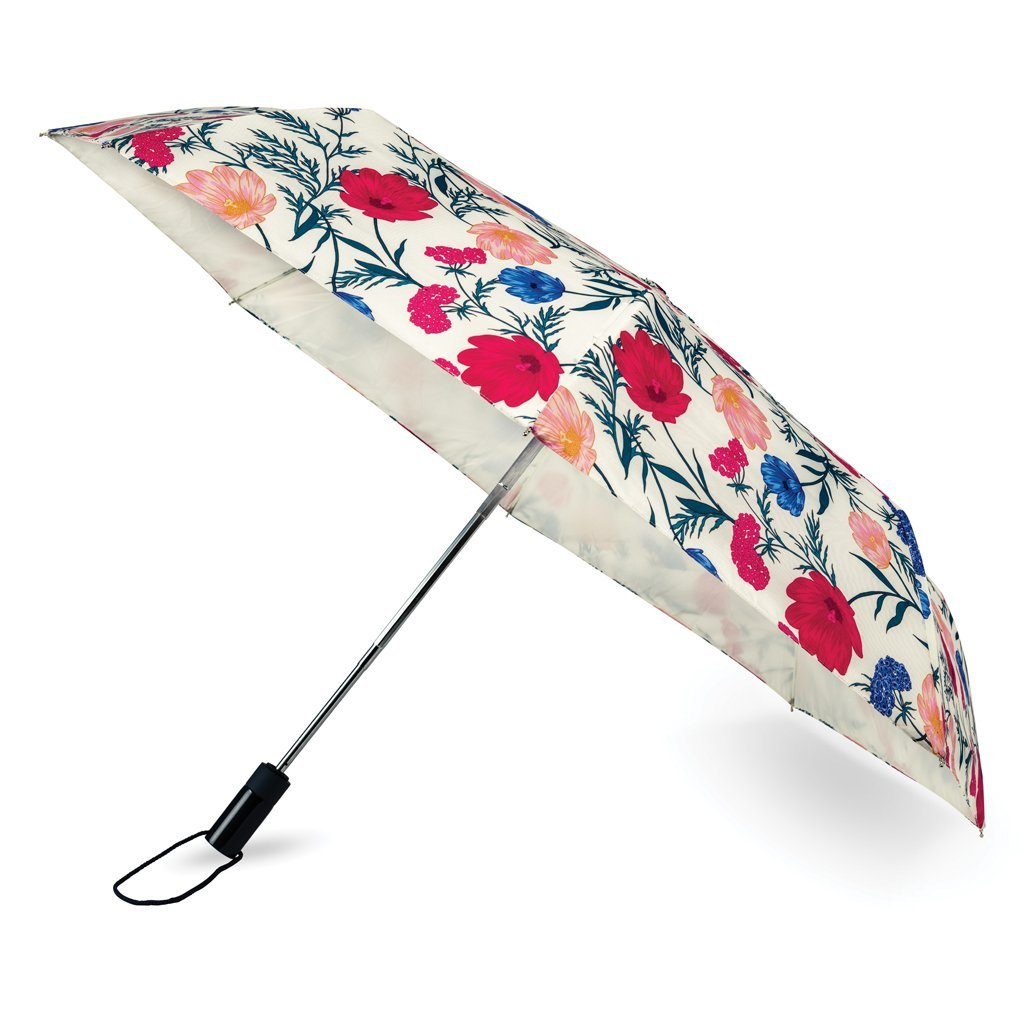 Kate Spade New York Floral Travel Umbrella, Blossom (Red/Blue/Multi)