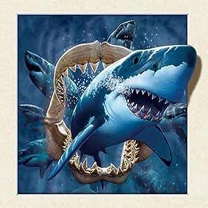 5D DIY Diamond Painting by Number Kits,DIY Diamond Painting kit for Hone Wall Decoration Shark Animal 11.8x11.8Inch