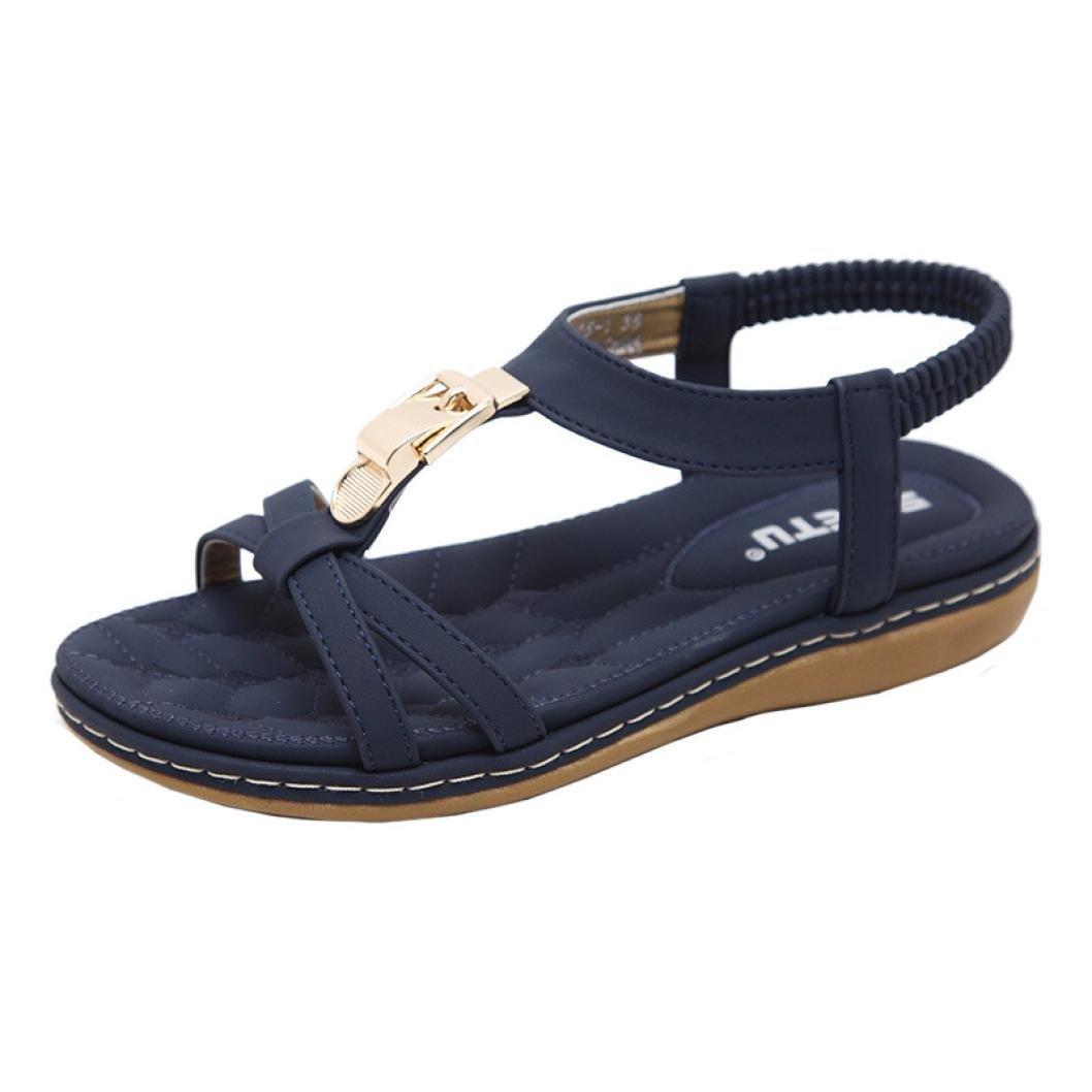 JIANGfu Femme Sandales Été Chaussures Plat Mode Bohème Chaussures Plat Métal Boucle Sandales Chaussures de Plein air Rome Pantoufles 8