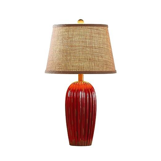 C&S CS Lámpara de Mesa de cerámica roja Lámpara de Escritorio de ...