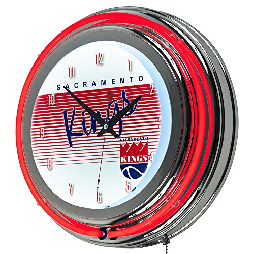 NBA Sacramento Kings Chrome Neon Clock, One Size, Chrome