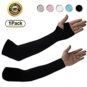 Achiou Arm Sun Sleeves UV Protection Cooling for Men Women Sunblock Cooler Protective Outdoor Sports Running Golf Cycling Basketball Driving Fishing Long Arm Cover Sleeves (1 Pair)