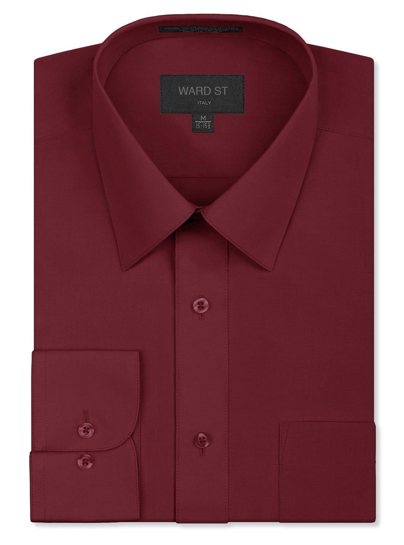 Ward St Men's Regular Fit Dress Shirts, 4XL, 20-20.5N 36/37S, Burgundy