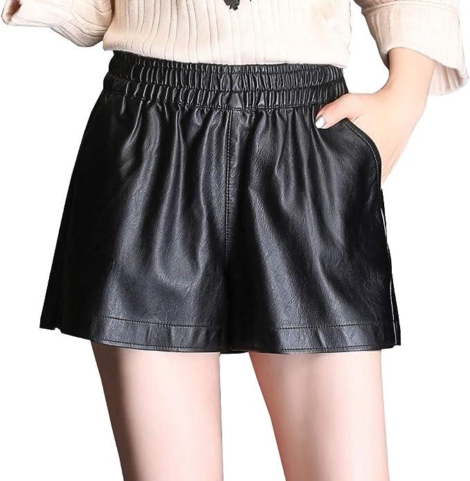 EMMA Damen Herbst Winter Leder Shorts Kunstleder Hotpants Hohe Taille Kurz Mini Hose
