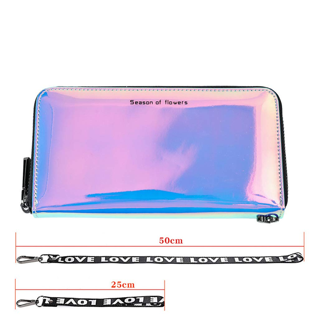 Marchome Holographic Clutch Wallet Iridescent Cellphone Handbag with Removable Lanyard (Blue, One Neck Lanyard and One Wrist Strap)