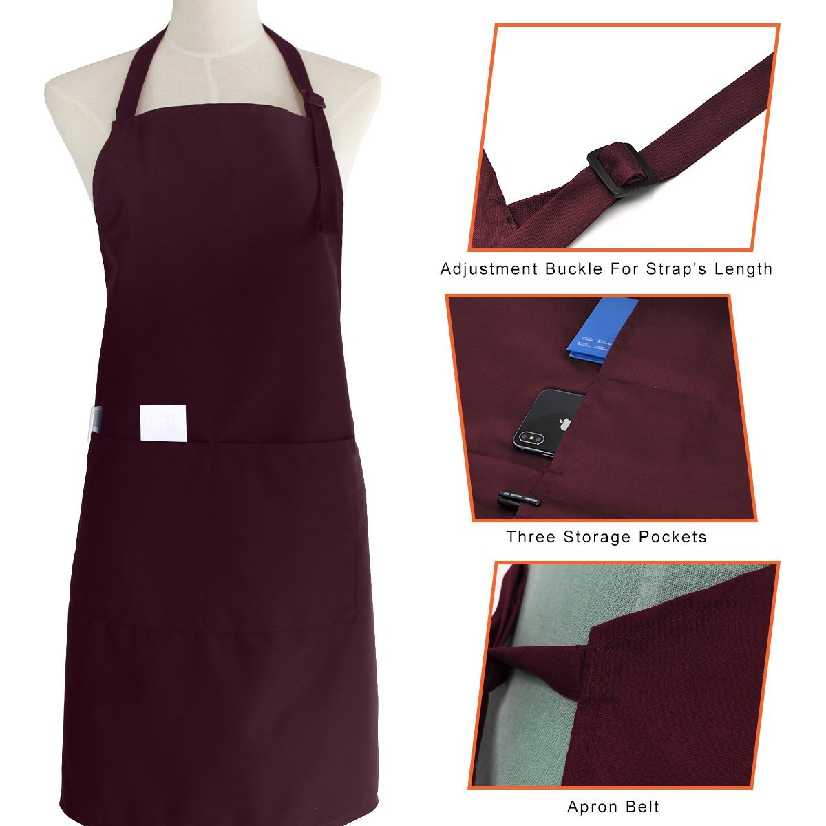 Deep Red Mydours Chef Bib Apron 3 Pockets Cooking Kitchen Unisex Adjustable Belt Aprons for Home Kitchen,Restaurant,Coffee House