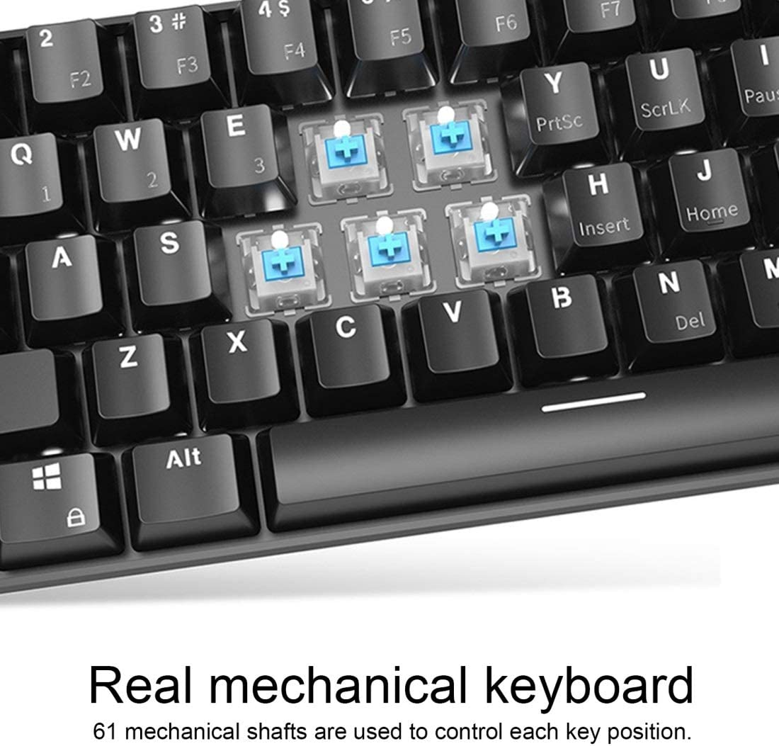 I610T 61 Keys Tablet Mobile Phone Computer Dual-Mode Mechanical Bluetooth Keyboard Color : Color2