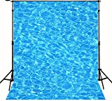 5x7ft Swimming Pool Blue Water Wave Background High-grade portrait cloth Computer printed newborn photo backdrop S-1678